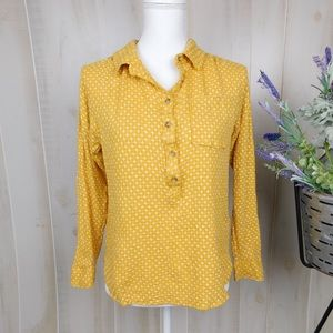 Anthropologie Mustard Patterned Popover Blouse